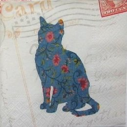 12073. Синяя кошка на бежевом