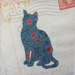12073. Синяя кошка на бежевом.5 шт., 20 руб/шт
