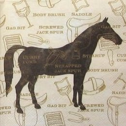 12075. Коричневая лошадь на бежевом