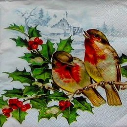 12166. Птички зимой. 5 шт., 17 руб/шт