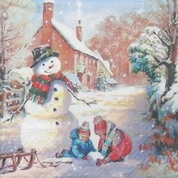 12168. Снеговик и дети. 10 шт., 14 руб/шт