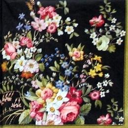 12219. Цветы на черном. 5 шт., 23 руб/шт