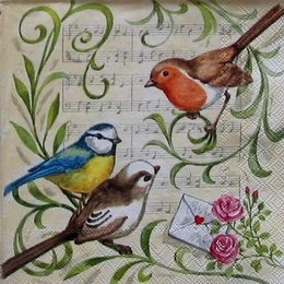 12260. Птички на ветке на фоне нот. 10 шт., 22 руб/шт