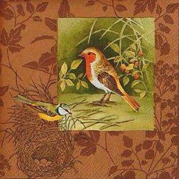 12273. Птички и гнезда на коричневом. 10 шт., 17 руб/шт