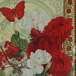 12376. Розы и бабочка. 10 шт., 21 руб/шт
