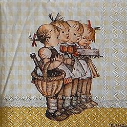 12394. Девочки с цветами и тортом