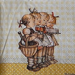 12394. Девочки с цветами и тортом. 5 шт., 23 руб/шт