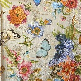 12401. Цветы и бабочки на бежевом. 10 шт., 21 руб/шт