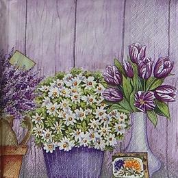 12442. Сиреневые цветы в вазах. 10 шт., 21 руб/шт