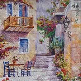 12445. Дом с балконами в цветах