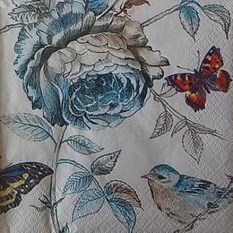 12448. Птица на голубой розе. 5 шт., 17 руб/шт