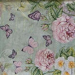 12461. Розовые бабочки на сером. 5 шт., 20 руб/шт