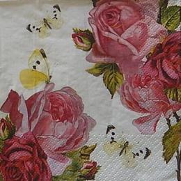 12464. Розы с бабочками на белом. 10 шт., 17 руб/шт