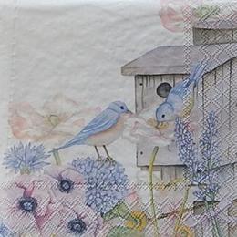 12473. Скворечник с птицами в цветах