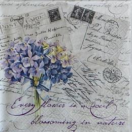 12483. Фиолетовый букет на письмах. 5 шт., 24 руб/шт
