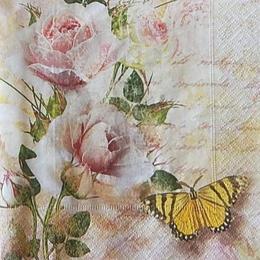 12485. Бабочка с розой на письменах
