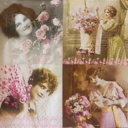12489. Коллаж девушки с розами ретро. 10 шт., 21 руб/шт
