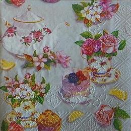12495. Чайный сервиз с цветами. 10 шт., 15 руб/шт