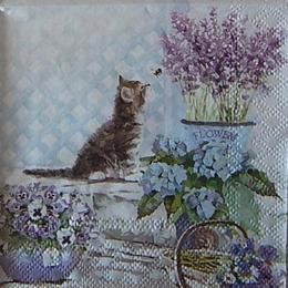 12497. Котенок с цветами. 5 шт., 20 руб/шт