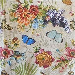 12515. Бабочки в цветах на бежевом. 5 шт., 18 руб/шт
