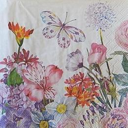 12522. Садовые цветы с бабочкой