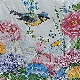 12618. Птица и бабочки в цветах