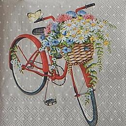 12647. Велосипед и цветы на сером