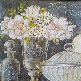 12793. Цветы в вазе на темном.