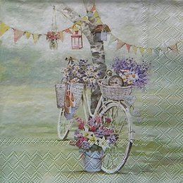 12824. Велосипед и цветы