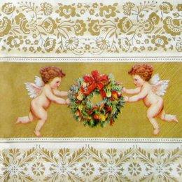 1561. Ангелы с венком на золоте.