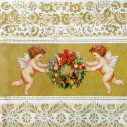 1561. Ангелы с венком на золоте. 20 шт., 8 руб/шт