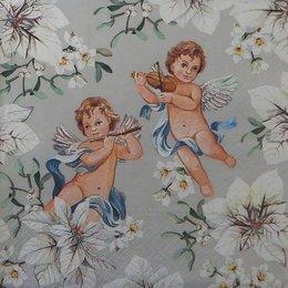 20106.  Ангелы в цветах на сером. 5 шт., 19 руб/шт