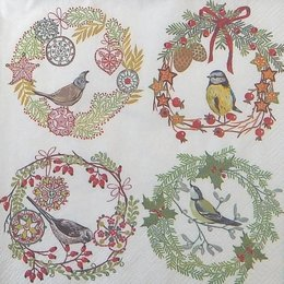 20108.  Новогодний коллаж с птицами. 10 шт., 22 руб/шт