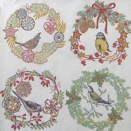 20108.  Новогодний коллаж с птицами. 5 шт., 24 руб/шт