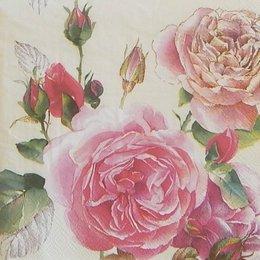 20233. Розы на бежевом. 5 шт., 24 руб/шт