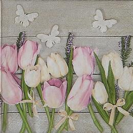 24049. Тюльпаны и бабочки. 15 шт., 6  руб/шт