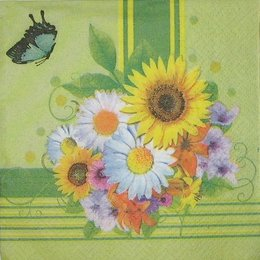 2860. Букет и бабочка на зеленом 5 шт. 7 руб/шт