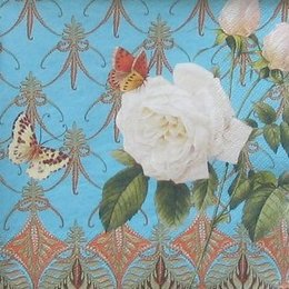 4678. Белая роза и бабочки. 10 шт., 9 руб/шт