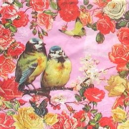 4939. Синички и розы.