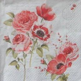 8018. Маки и розы на письменах. 5 шт., 23 руб/шт