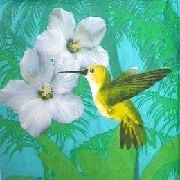 8758. Птичка с белыми цветами на зеленом. 5 шт., 12 руб/шт