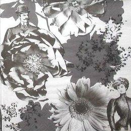 8818.Черно-белые цветы. 10 шт., 9 руб/шт