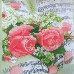 8914. Розы на нотах. Двухслойная.
