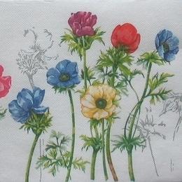 9009. Разноцветные цветы. Двухслойная. 20 шт., 5 руб/шт