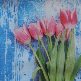 9024. Тюльпаны на голубом. Двухслойная