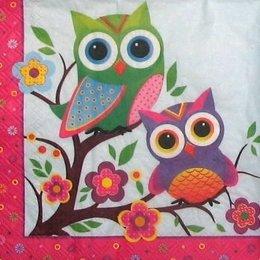9073. Разноцветные совы на дереве. 5 шт., 10 руб/шт
