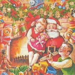 9372. Дед мороз и дети у камина. 10 шт., 9 руб/шт