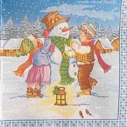 9473. Дети и снеговик. Двухслойная. 10 шт., 6 руб/шт
