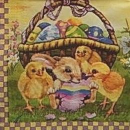 9551. Заяц с цыплятами