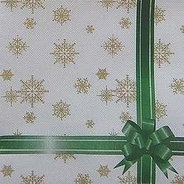 9658. Снежинки с зеленой лентой. Двухслойные. 10 шт., 6 руб/шт